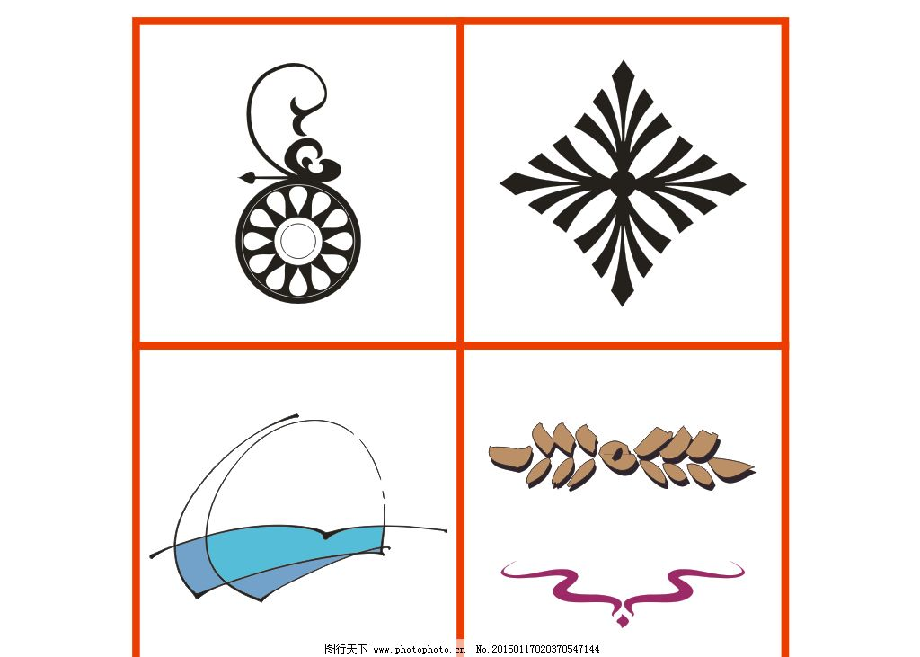 各种角花图片 鲜花矢量图 欧式花纹花边 圆形抽象图 方形抽象图 椭圆