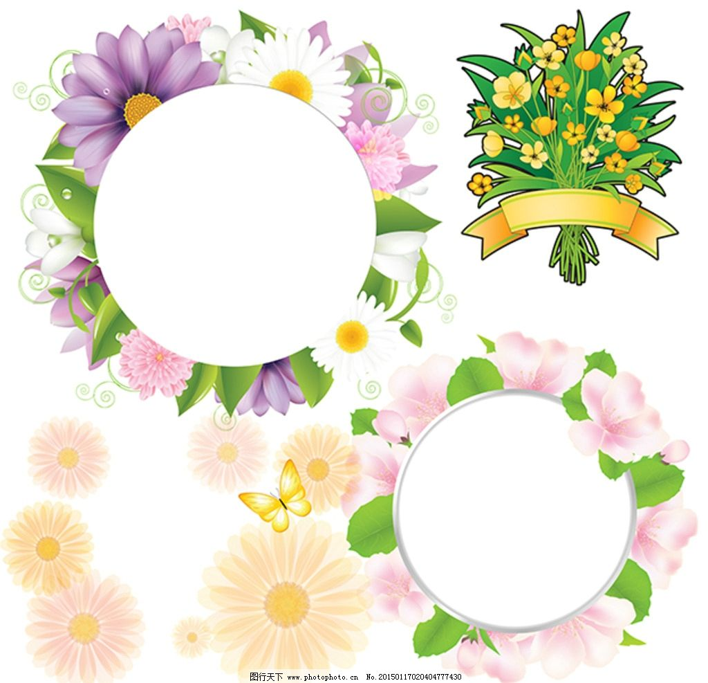 花卉素材 矢量花卉 菊花 非洲菊 花卉图案 花环 花圈 花卉边框 花卉