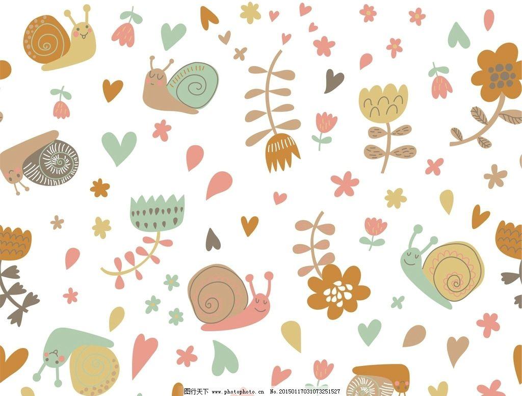 儿童服饰卡通印花循环图 动物 花朵 广告设计 其他