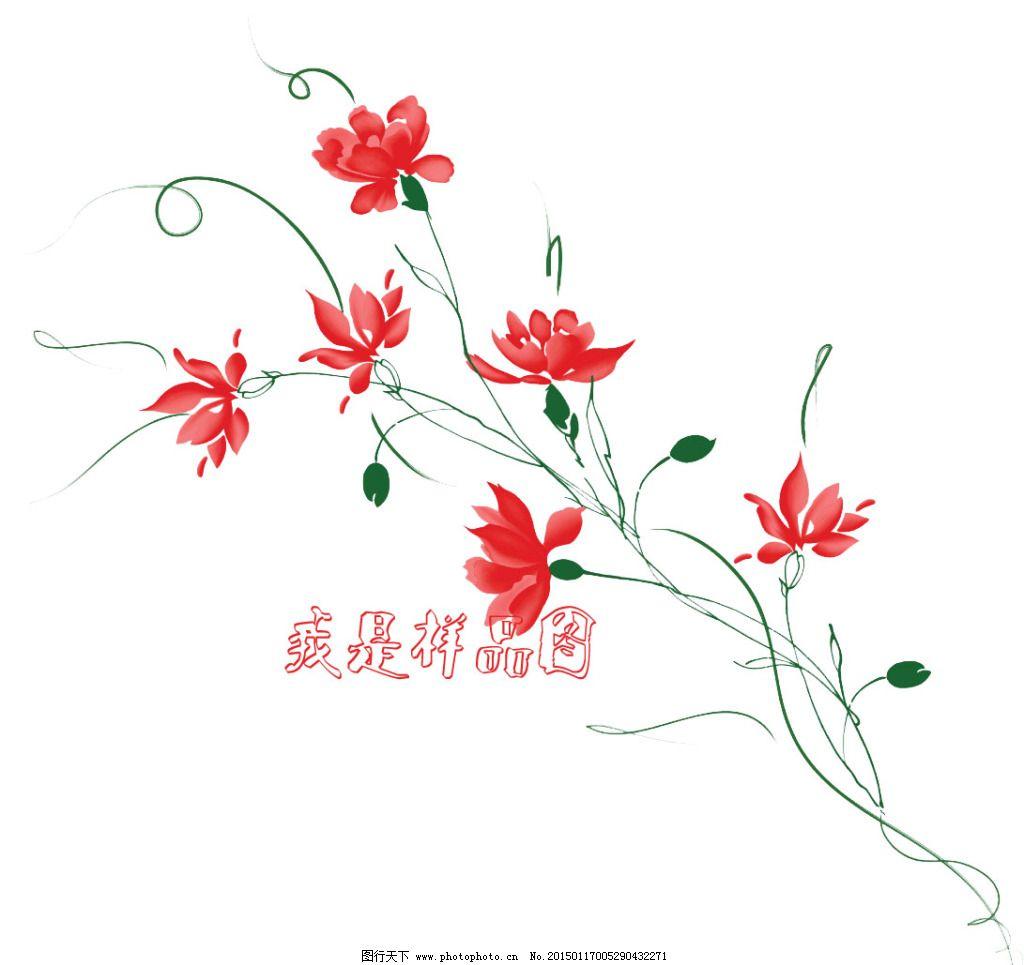 古风红花装饰设计矢量素材