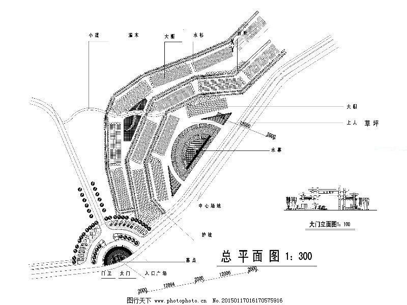 某公园平面cad图纸,节点大样图 施工图 公园设计-图行