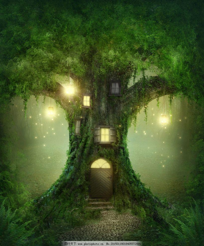 手绘森林树屋图片