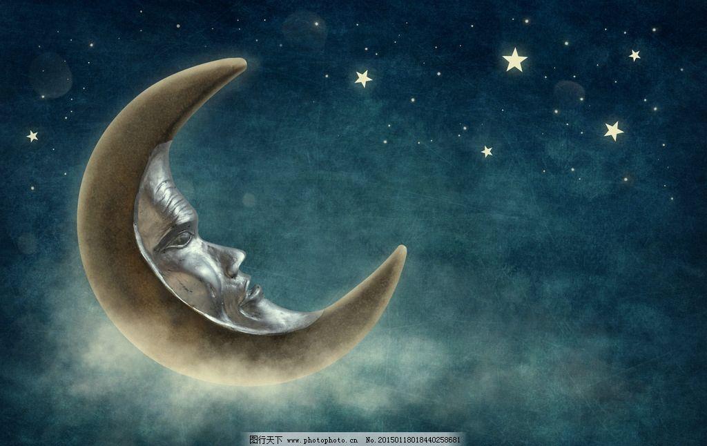 唯美 浪漫 童话 温馨 月亮 夜空 星星 设计 动漫动画 风景漫画 300dpi图片