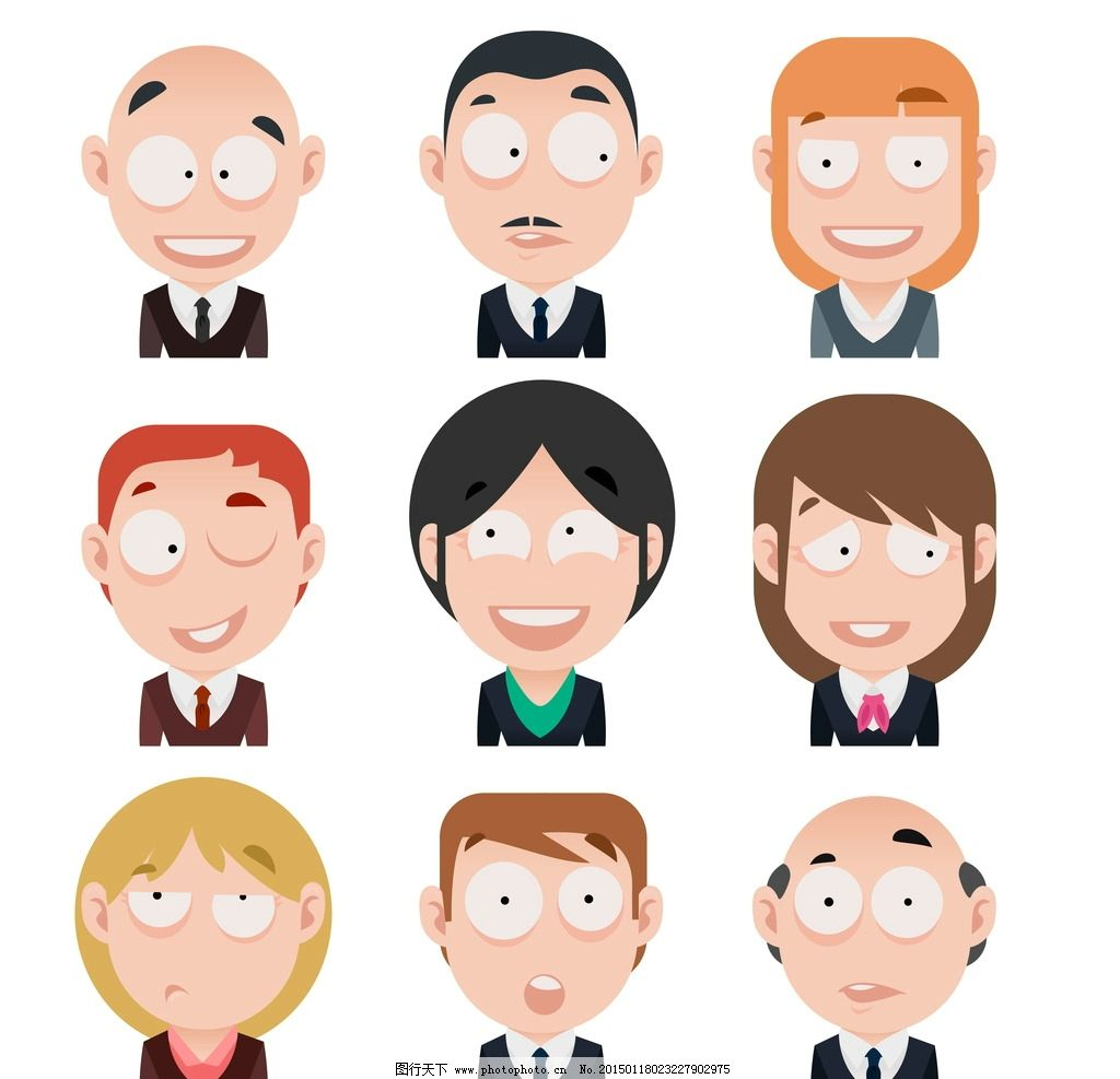 卡通人物头像 商务人物 人物表情 白领 团队 职业女性 秘书 手绘人物