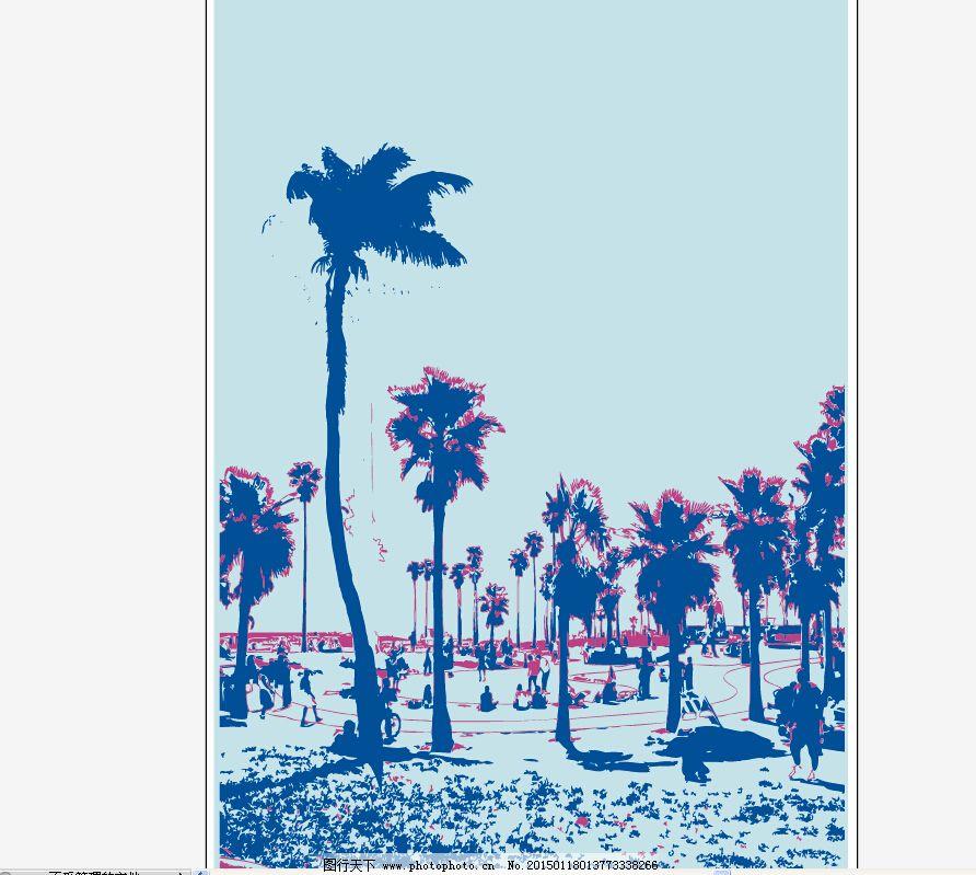 海滩矢量图免费下载 平面设计 椰子树 平面设计 海岸风景图 椰子树