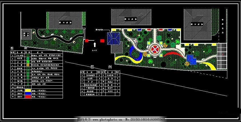 环境设计 园林设计  干休所庭院绿化布置平面图免费下载 cad图纸 建筑