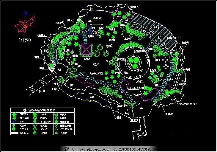 设计图库 环境设计 园林设计  湖心岛绿化布置平面图免费下载 cad图纸