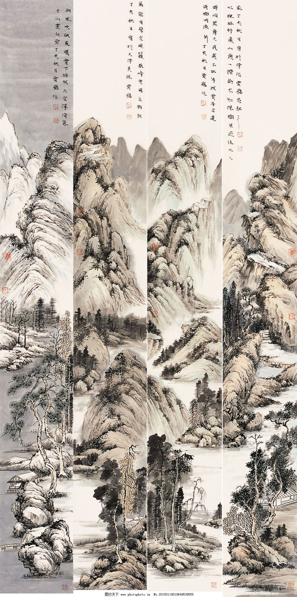山水含春碧迢迢免费下载 刺绣 江水 柳树 山峦 松树 写意山水画 中国