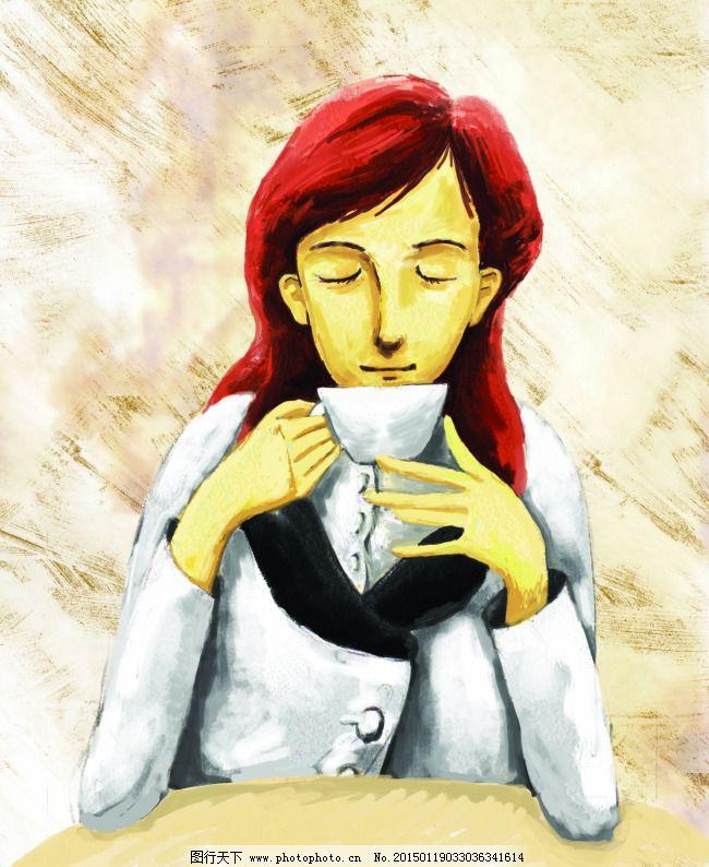 卡通手绘素材喝咖啡的美女