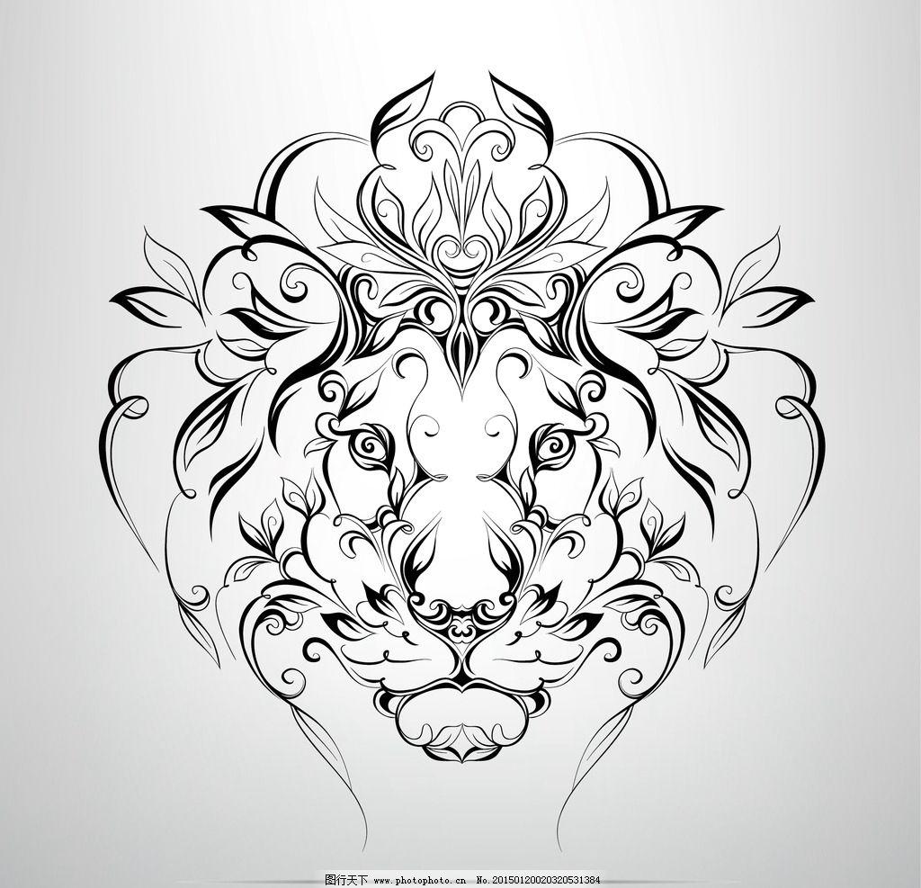 纹身 手绘 狮子 图腾 花纹
