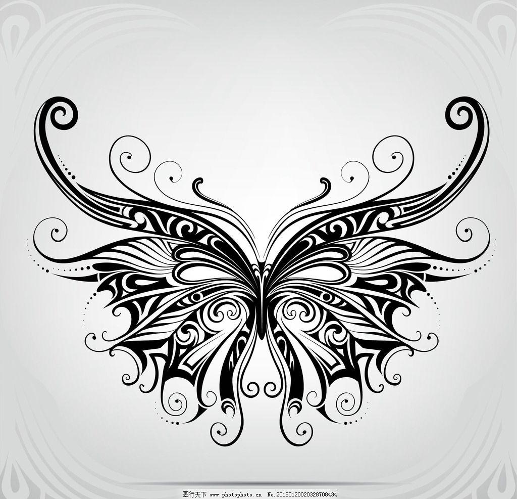 纹身 手绘 蝴蝶 图腾 花纹