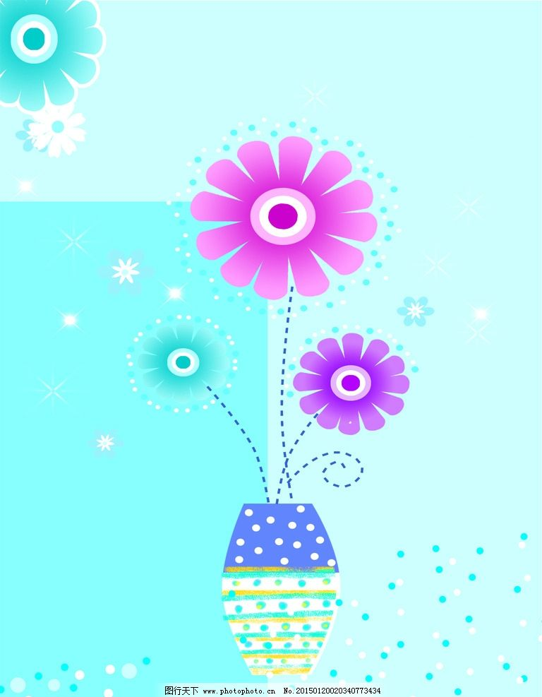 向日葵 花卉 花瓶 壁画 花 设计 底纹边框 花边花纹 300dpi jpg