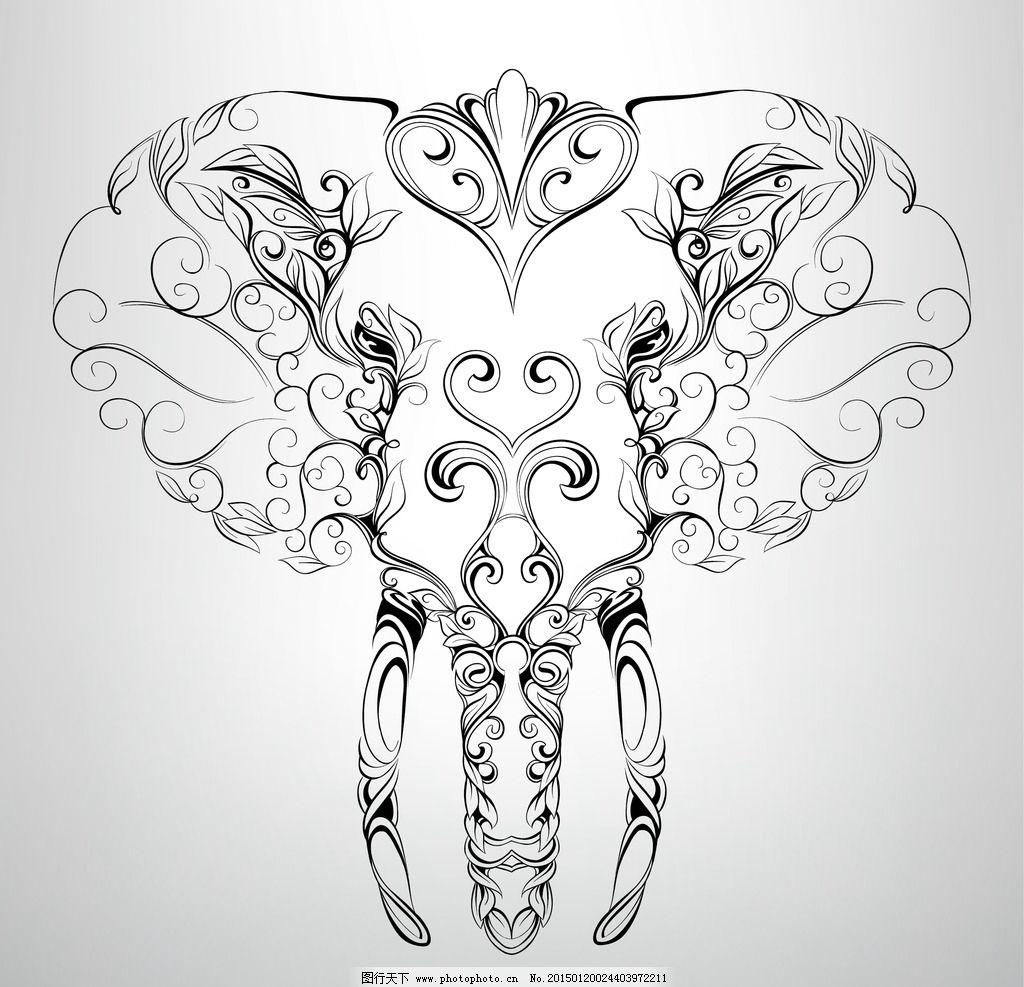 纹身 手绘 大象 图腾 花纹