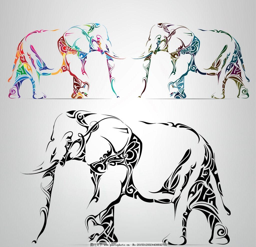 纹身 手绘 大象 图腾 花纹 纹样 手绘纹身图案 花边 设计 eps 设计