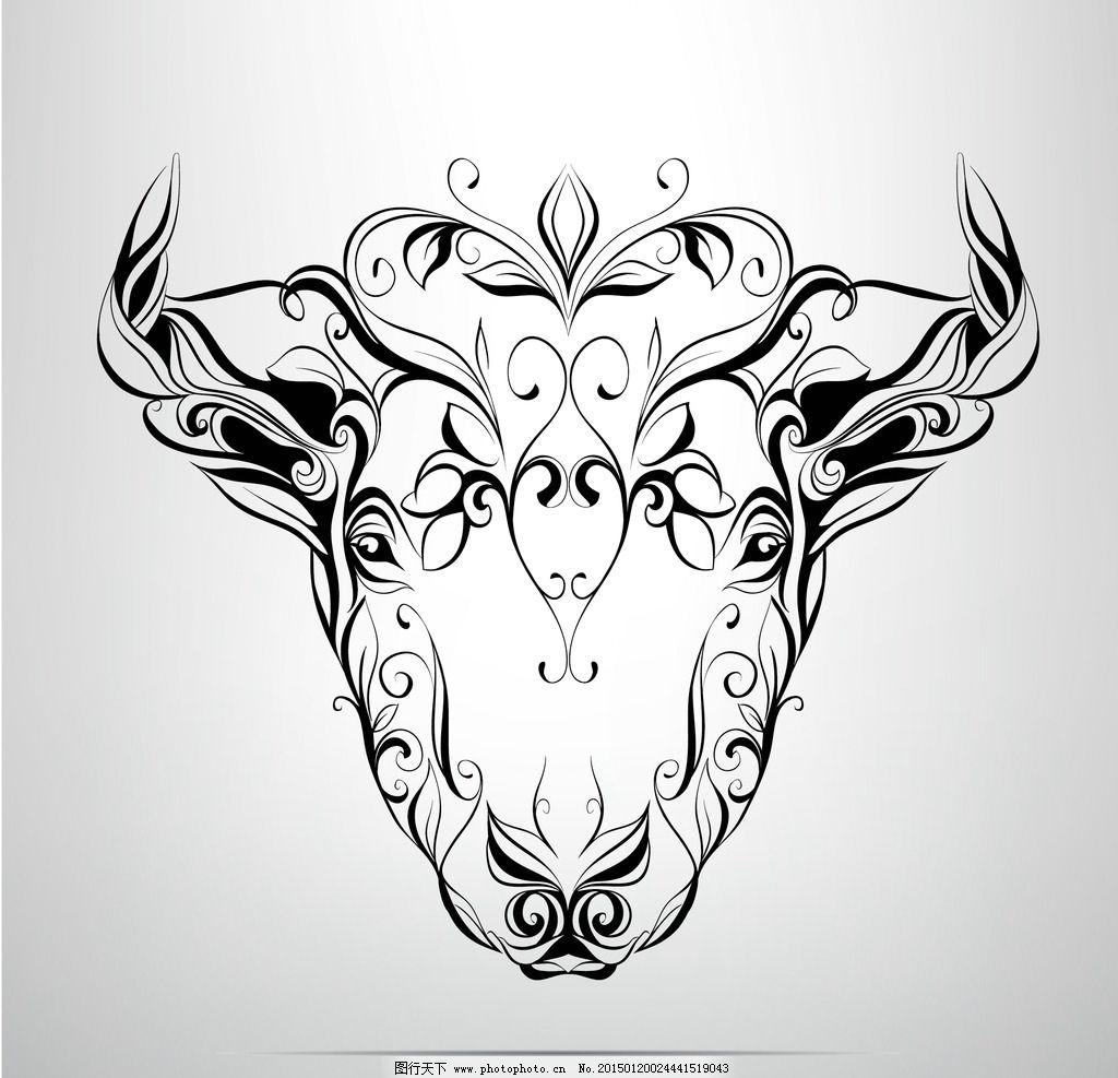 纹身 手绘 牛 图腾 花纹 纹样 手绘纹身图案 花边 设计 eps 设计 生物