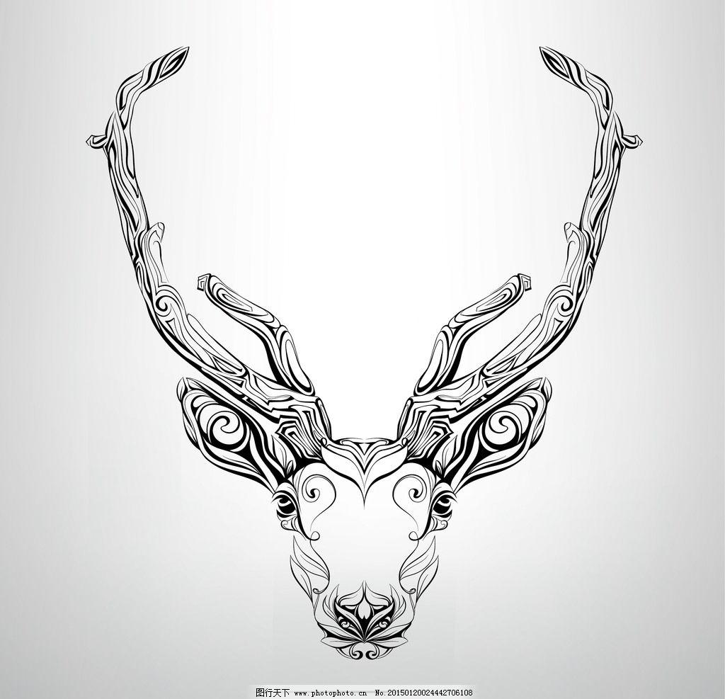 纹身 手绘 鹿 图腾 花纹 纹样 手绘纹身图案 花边 设计 eps 设计 生物