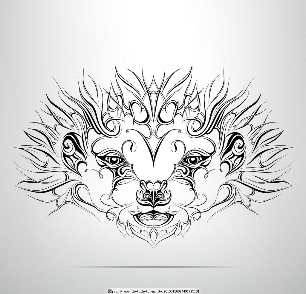 花纹 纹样 手绘纹身图案 花边 设计 eps  设计 生物世界 野生动物