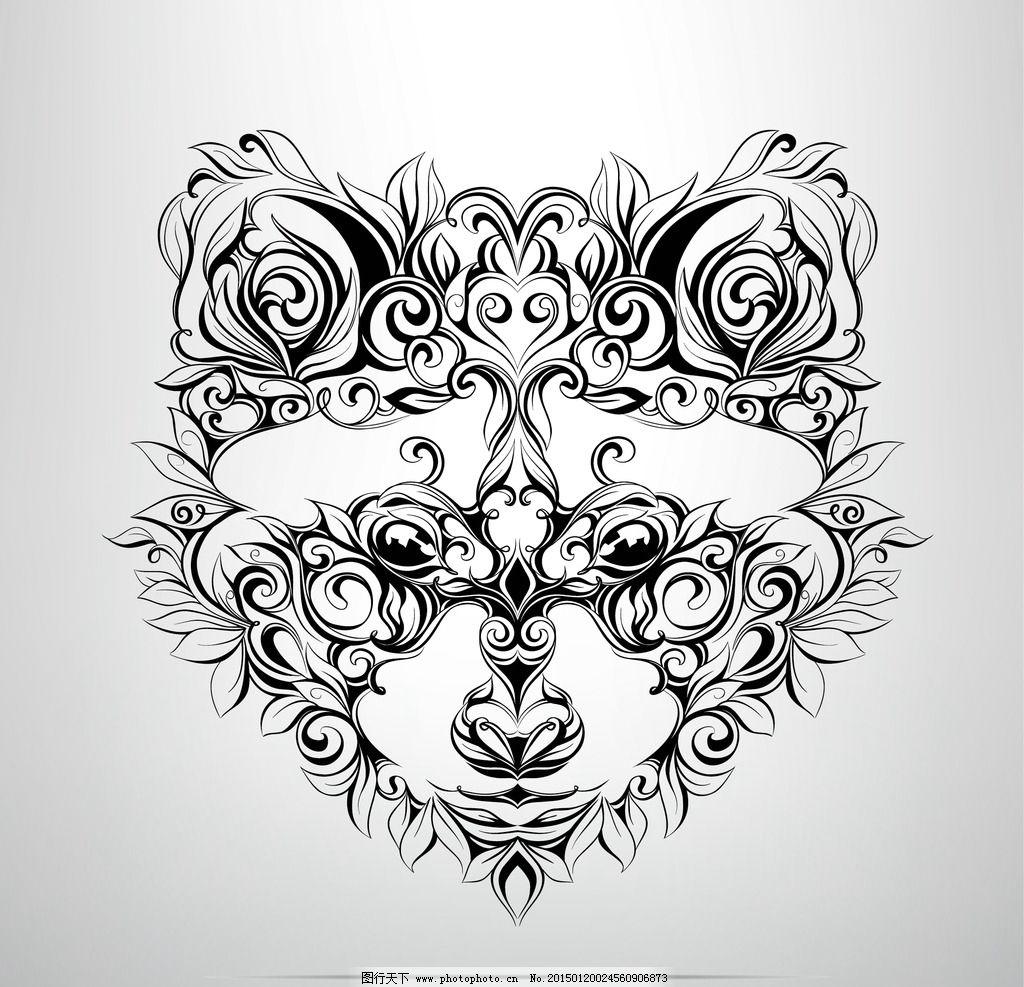 纹身 手绘 小狗 图腾 花纹 纹样 手绘纹身图案 花边 设计 eps 设计