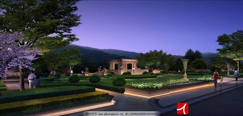 景观节点 别墅 鸟瞰图 中式建筑 风景区 居住区 森林公园 效果图人行