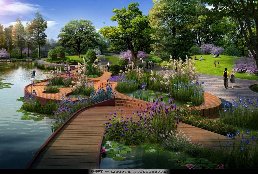 木栈道 景观节点 别墅 鸟瞰图 中式建筑 风景区 居住区 森林公园 效果
