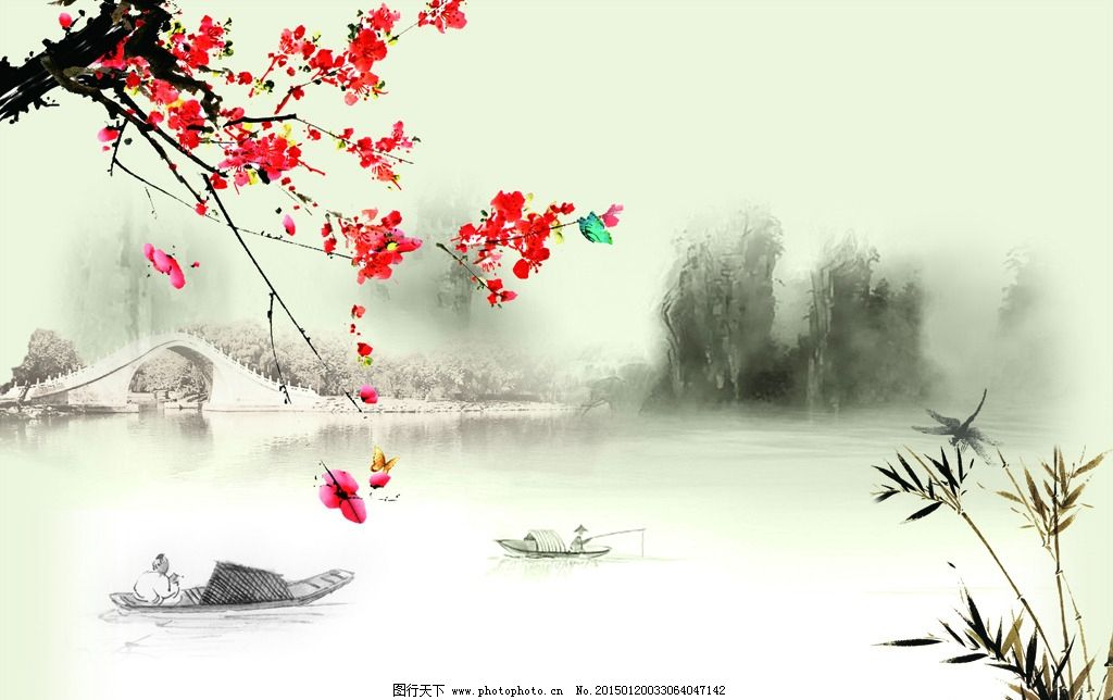 psd水墨 江南风景 水墨江南 江南风 唐韵 山水情 复古山水画 中式古典图片