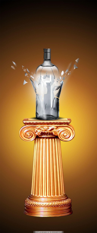 破碎瓶子海报免费下载 黄色背景 瓶子 破碎 破碎 瓶子 欧式底座 黄色