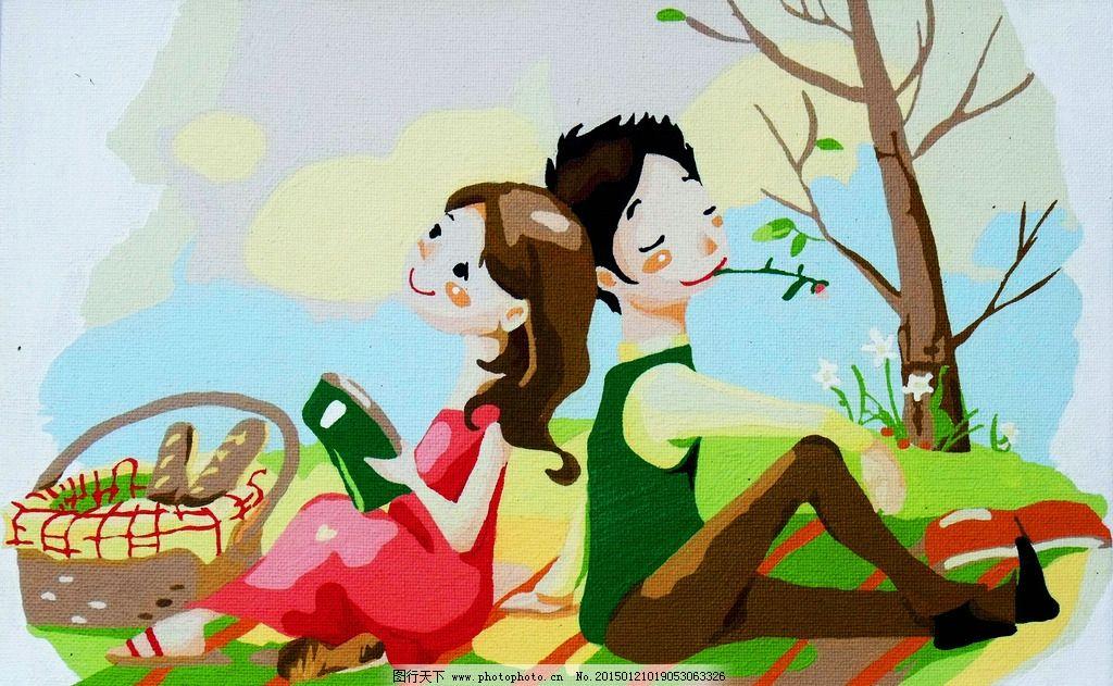 卡通画 世界名画 装饰画 彩色人物画 卡通男女画 装饰绘画 世界名画
