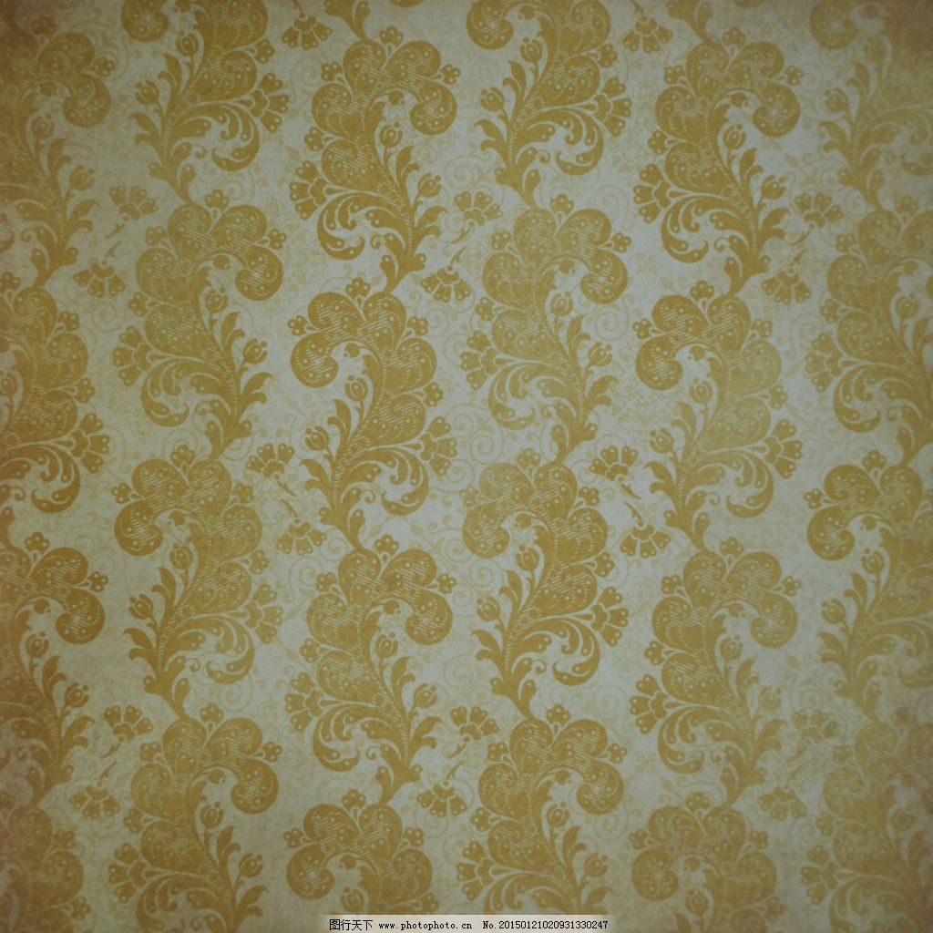 黄色欧式花纹布纹贴图素材