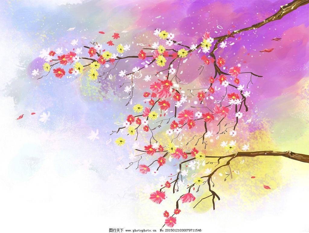 梅花 水墨 白色花朵 展板设计 手绘花朵 中国风花朵 漂亮红色花朵