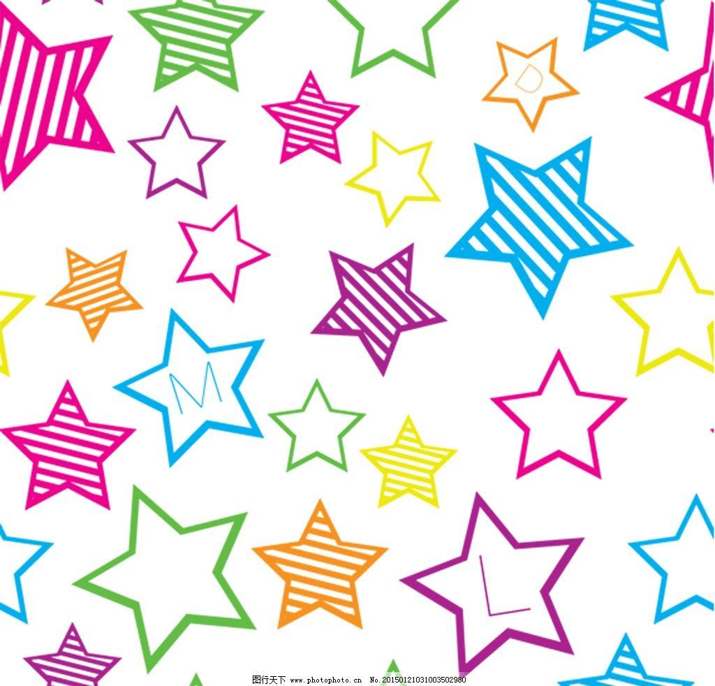 儿童 服饰 卡通 印花 布纹 几何 彩色 字母 五角星循环图 印花循环图