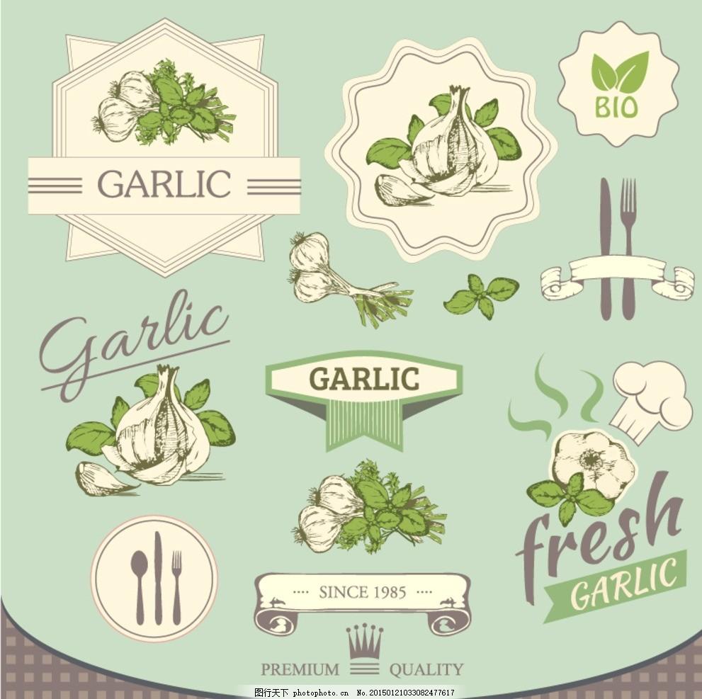 清新大蒜标签矢量素材 蔬菜 手绘 食品 食物 叉子 勺子 厨师帽
