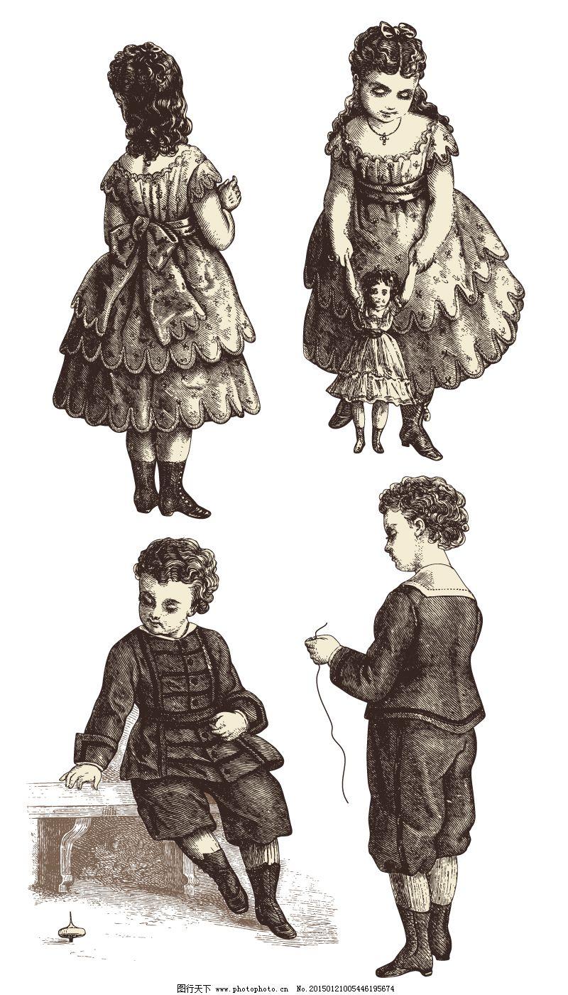 插画 复古 孩子 男孩 女孩 欧洲 矢量图 陀螺 洋娃娃 欧洲 复古 女孩
