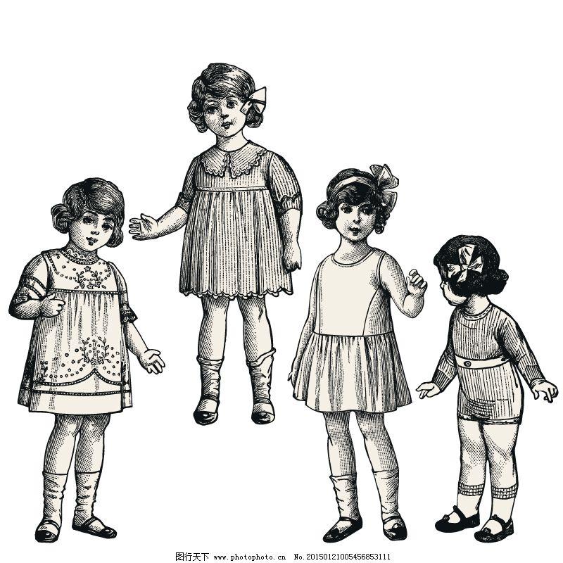 复古手绘女童免费下载