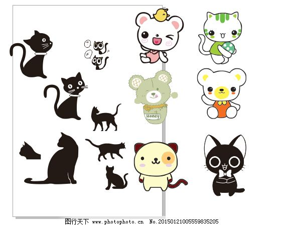 卡通猫免费下载 动物 卡通 猫 猫 卡通 动物 矢量图 其他矢量图