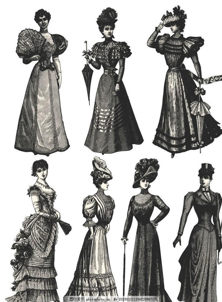 7款复古手绘欧美女子矢量素材 女人 公主 女王 权贵 高贵 希腊