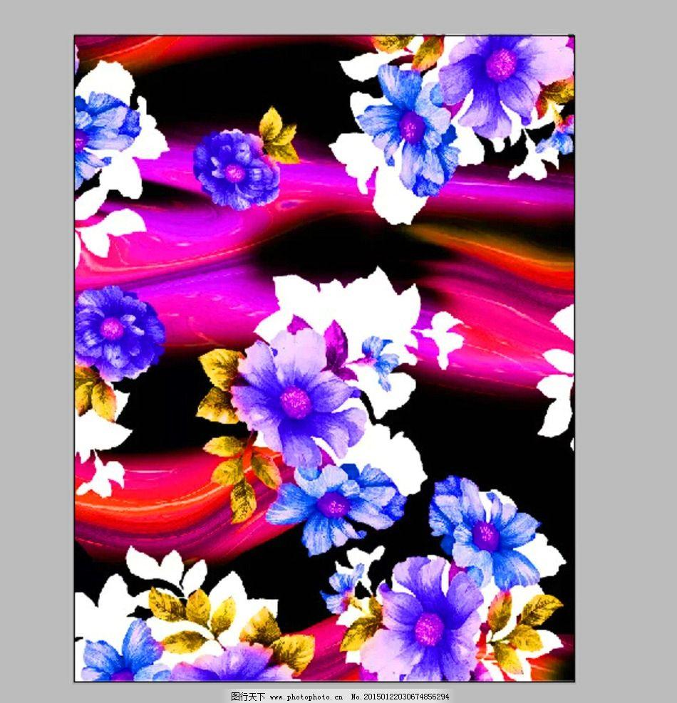 印花素材 牡丹花 炫彩背景 七彩大花 移门图案  设计 广告设计 服装