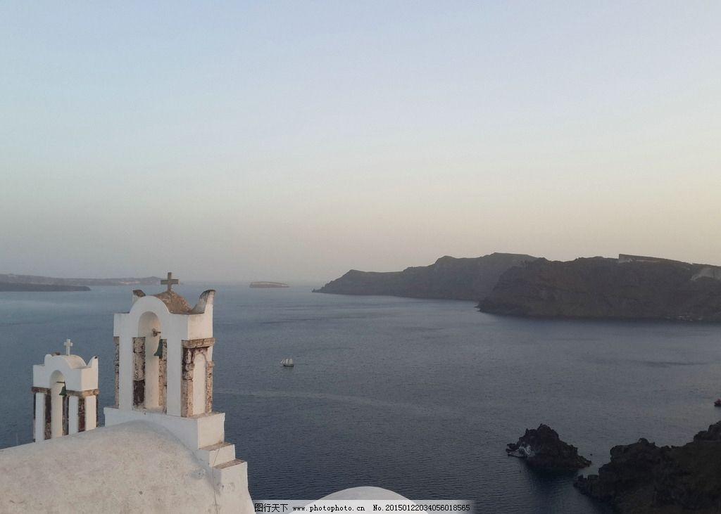 白色教堂 爱琴海 圣托尼尼岛 风光 旅游 基督教 神圣 壮观 国外旅游
