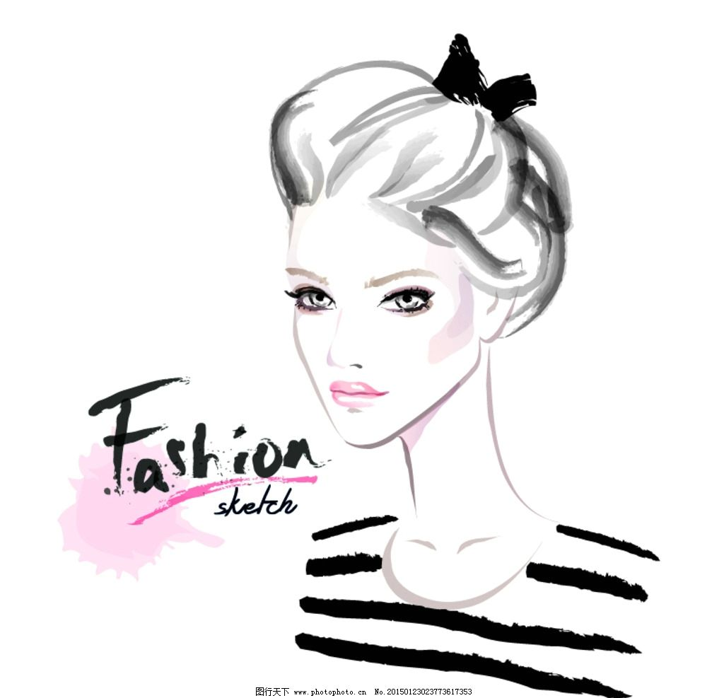 手绘少女 女孩 女人 时尚美女 女性素描头像 美女 卡通女生 简笔画