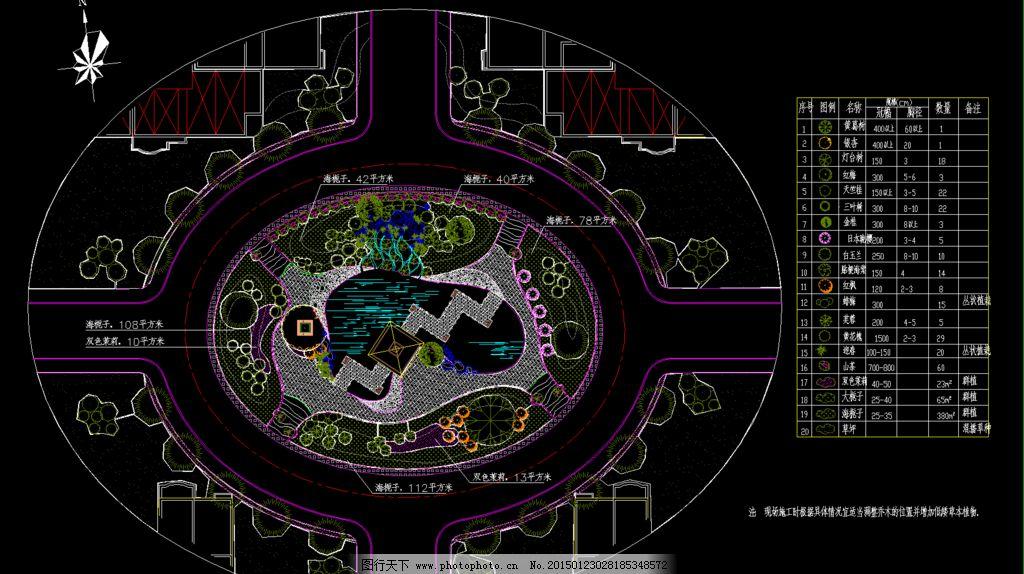 公园广场绿化 园林植物配置平面图片