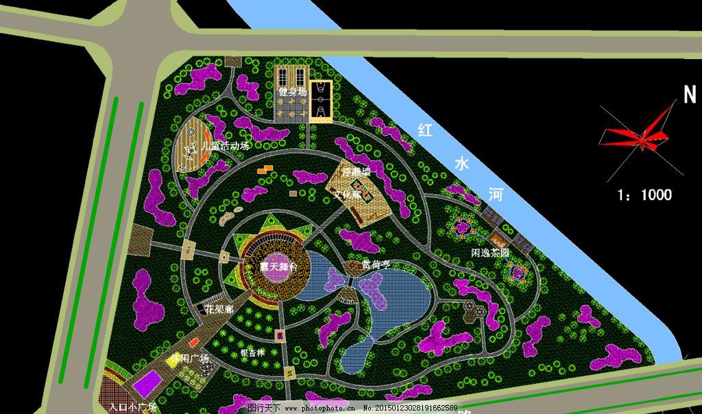 公园绿化 某中心绿地总体规划图图片_景观设计_环境
