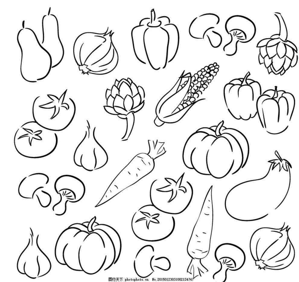 蔬菜 手绘 西葫芦 葱 洋葱 蒜 辣椒 彩椒 南瓜 蘑菇 西红柿 番茄 胡