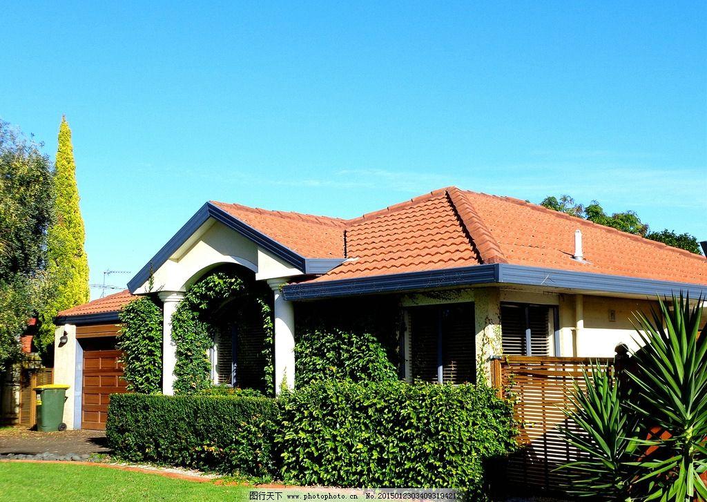 新西兰风景 蓝天 白云 建筑 别墅 绿树 绿地 草地 树墙 新西兰风光