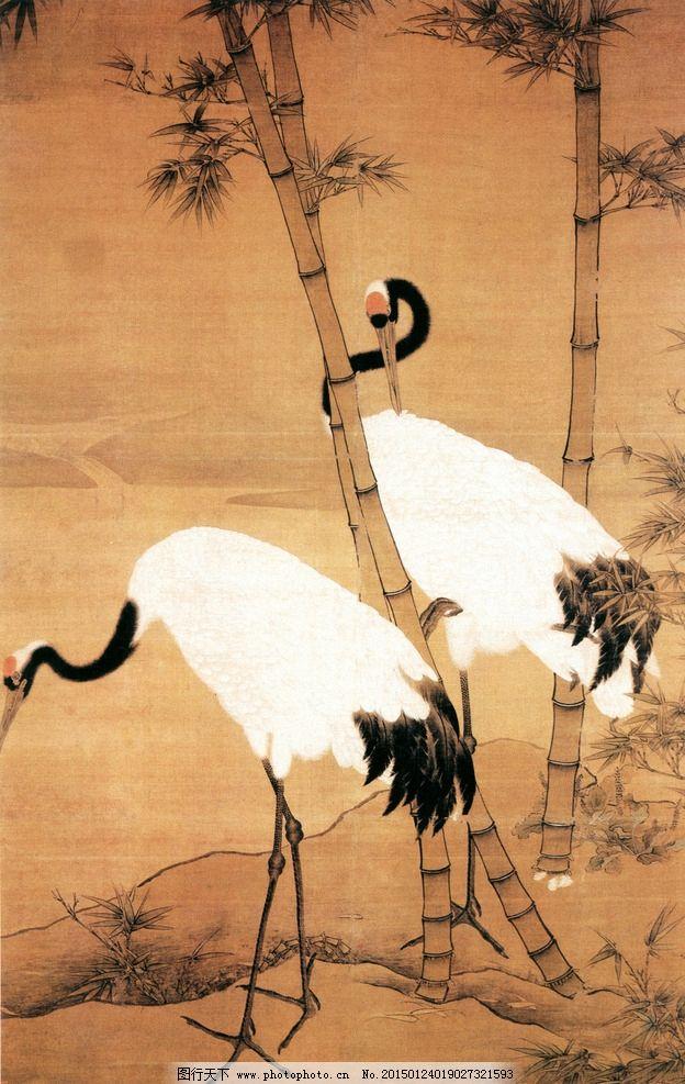 国画鹤 丹顶鹤国画 国画双鹤 白鹤 双鹤图 设计 文化艺术 绘画书法