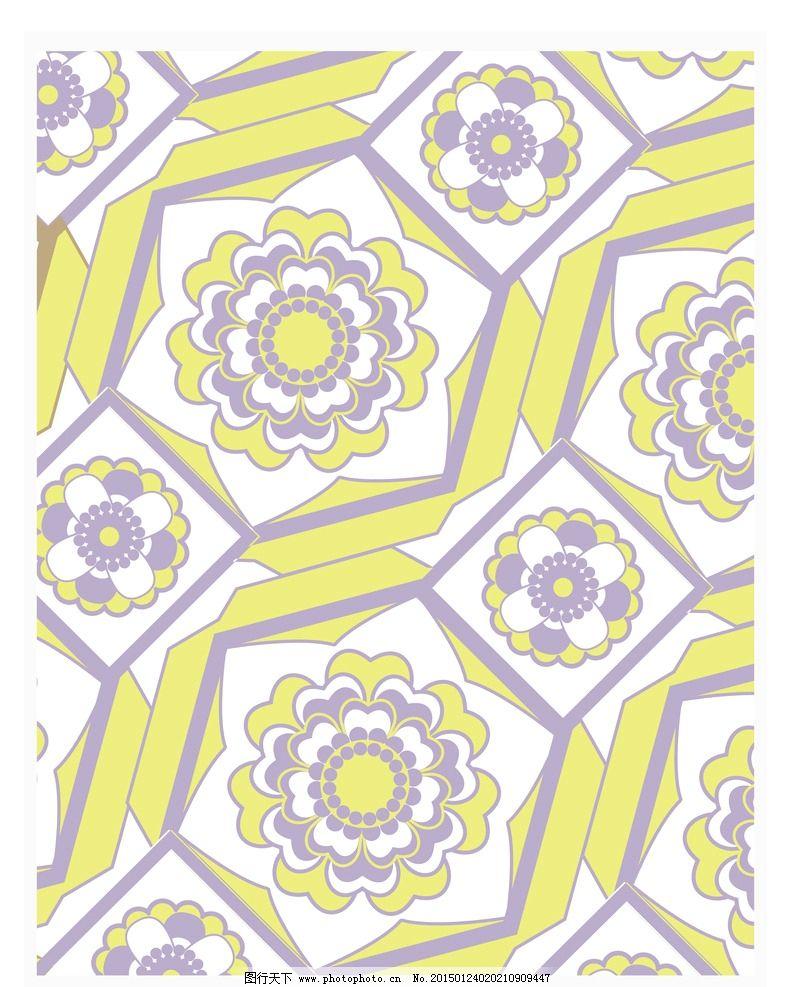 花纹背景 花卉面料 黄色花朵背景 圆形花纹背景 创意花纹背景 花卉