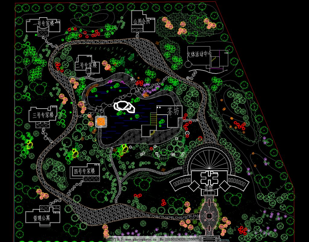 公园广场 某休闲区园林规划平面图片_景观设计_环境