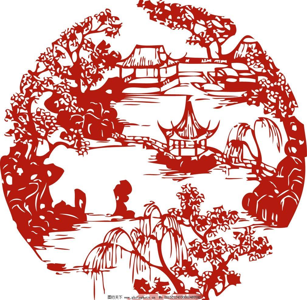 古代 凉亭 矢量图 窗花 描绘 设计 广告设计 海报设计 300dpi ai
