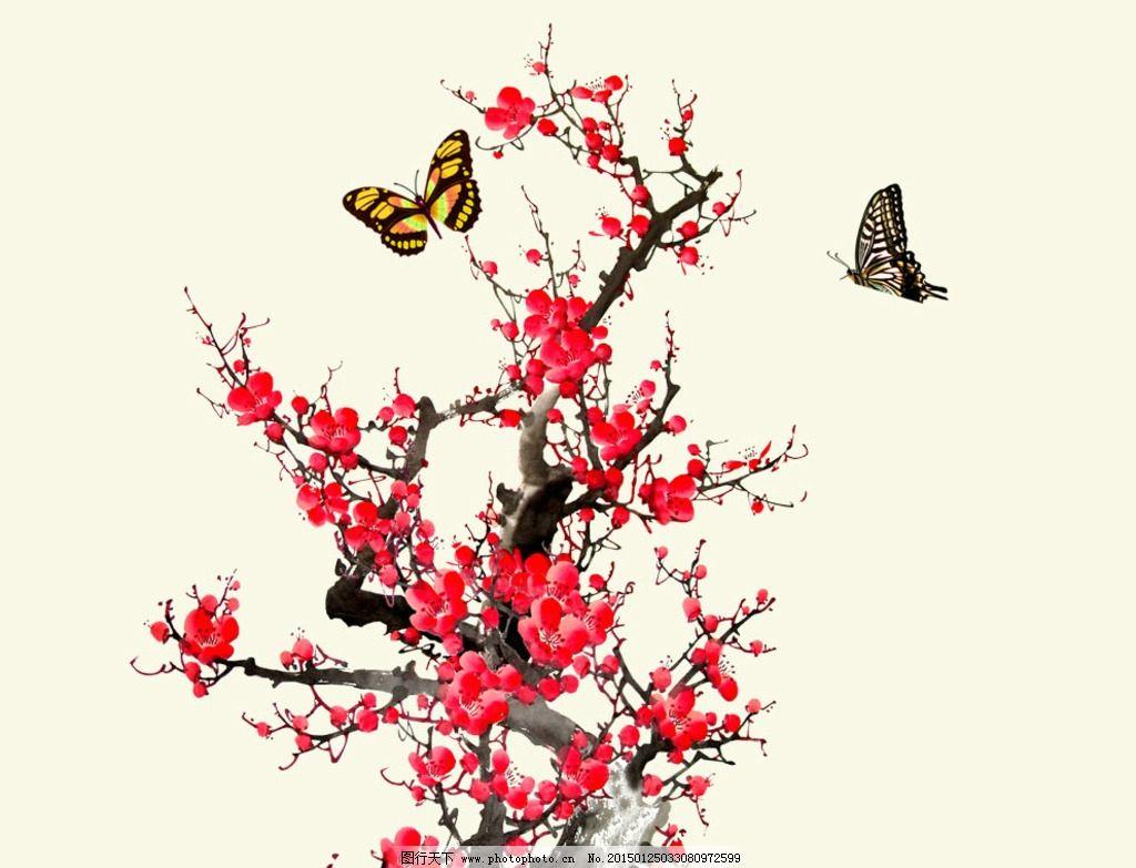 工笔梅花-喜鹊腊梅图片