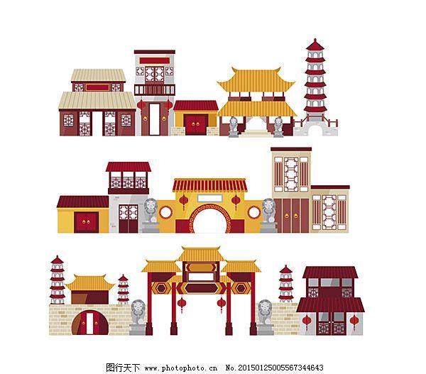 城楼 牌坊 塔 中国风元素 中式建筑 卡通中国传统建筑 中式建筑 塔