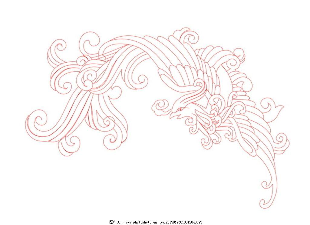 优美凤凰的线描画_绘画分享
