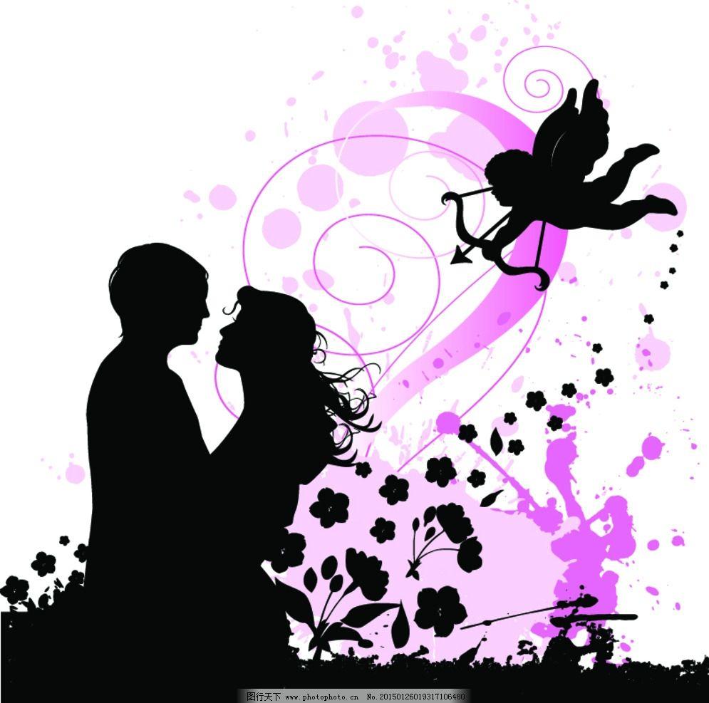 情人节 手绘 求爱 情侣剪影 轮廓 拥抱 爱人 情人 小天使 夫妻 love